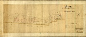 Mapa Ostrożnicy z 1860 roku (oryginał w AP Katowice)